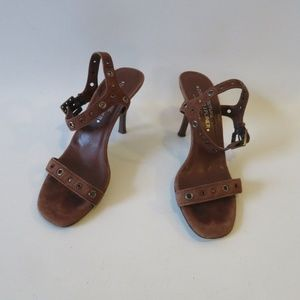 DONALD J. PLINER BROWN SUEDE HEEL SANDALS SZ 8.5*